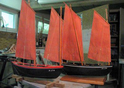Maquette de Sinago du Morbihan, bateau du patrimoine, de pêche ancien à voile