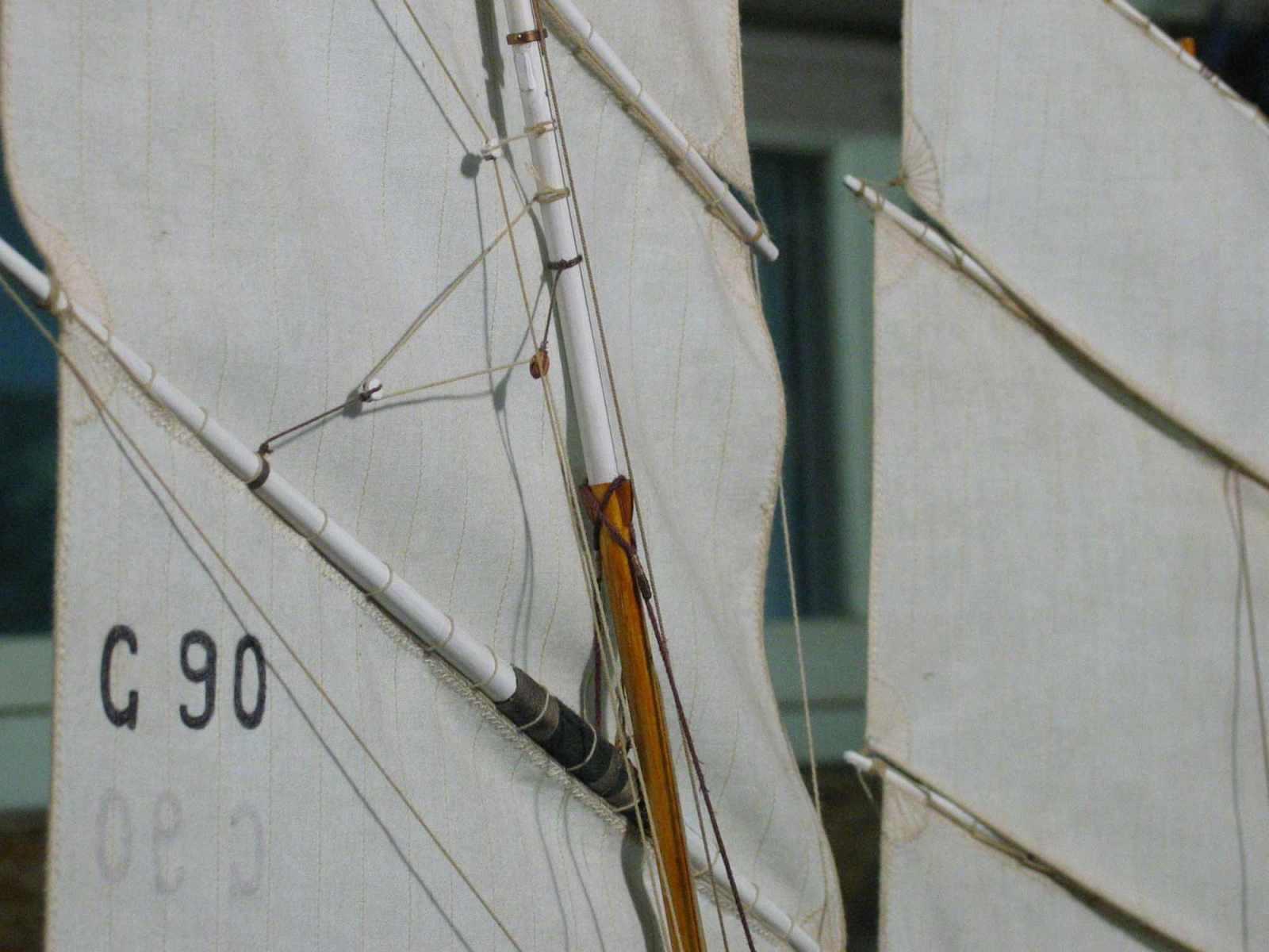 Maquette de Bisquine de Granville Bateau de pêche ancien à voile