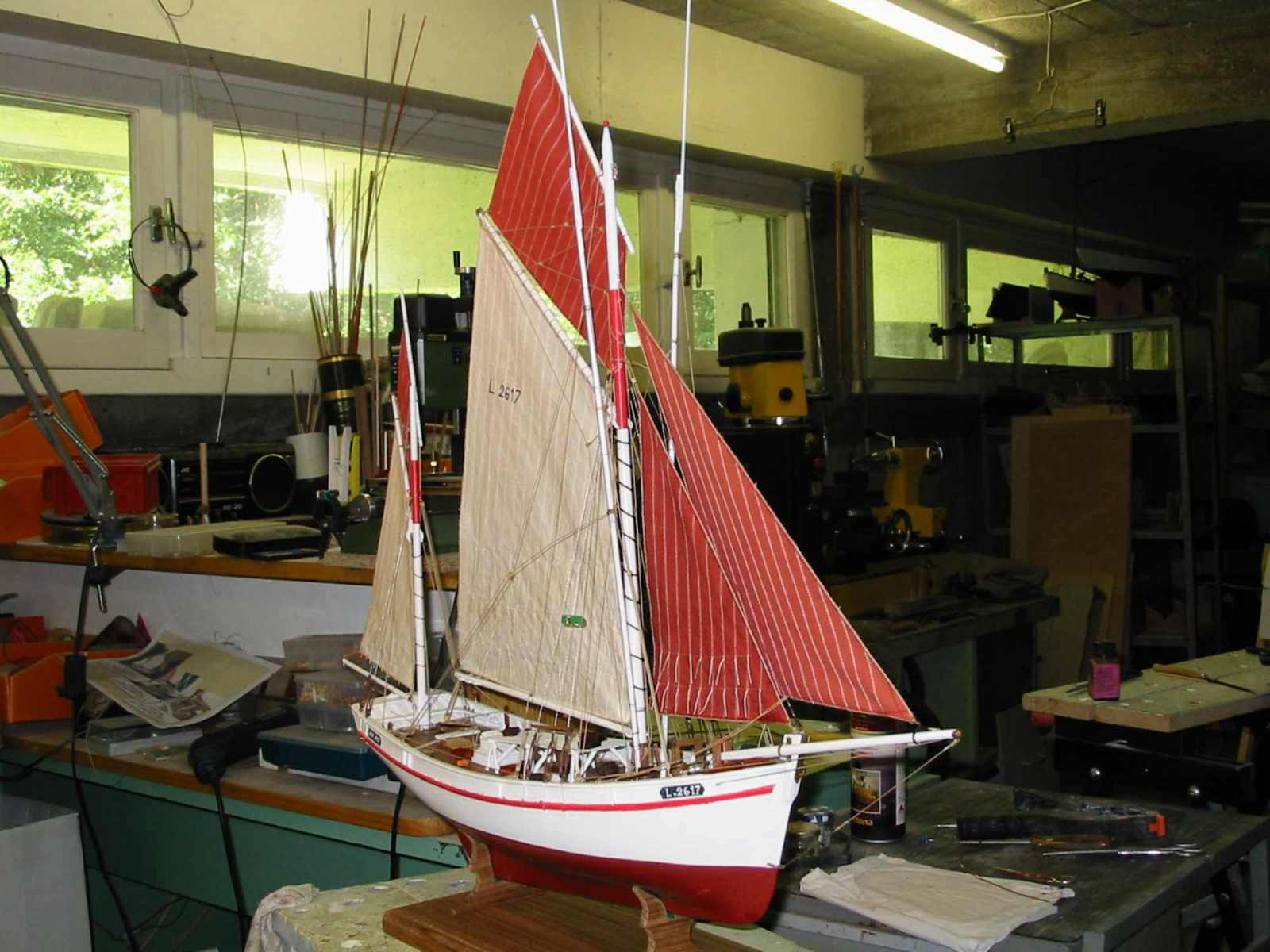 Maquette de Thonier Bateau de pêche ancien à voile