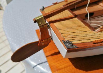 galerie détails, détail safran relevable de maquette de Bélouga,bateau de plaisance,voilier croiseur côtier