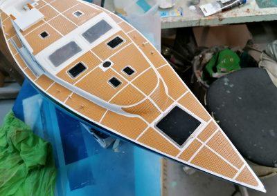 Maquette du Valonia - Bateau de croisière hauturière - Ketch - Marie Jeanne 43 pieds - Plan Langevin