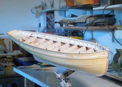 Maquette de Bisquine de Cancale - Bateau de pêche ancien à voile - Lougre de pêche à trois-mâts avec voiles au tiers