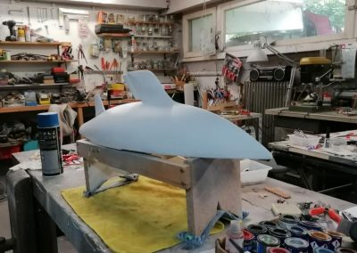 Maquette de Callirhoé III – Tina 37 – Bateau de course au large – Voilier – Sloop en tête – Plan Dick Carter